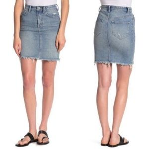 ALL SAINTS Kim Distressed Denim Mini Skirt Raw Hem